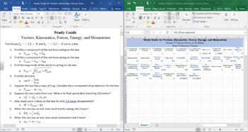 Study Guide and Calculator for Vectors, Kinematics, Forces, Energy
