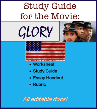 movie glory teaching resources teachers pay teachers  study guide and essay handout for the movie glory us history civil war