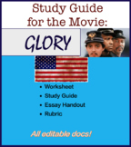 "Study Guide and Essay Handout for the movie ""Glory"" US History, Civil War Wksht"