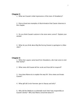 Study Guide and Resources for Taylor's Roll of Thunder, Hear My Cry