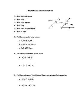 Study Guide and Test for Geometry Introductory unit