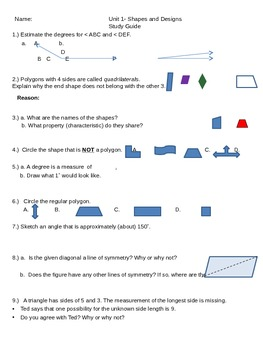 Study Guide and Unit Assessment for Shapes and Designs from CMP3