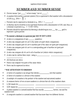 Study Guide for 6th Graders