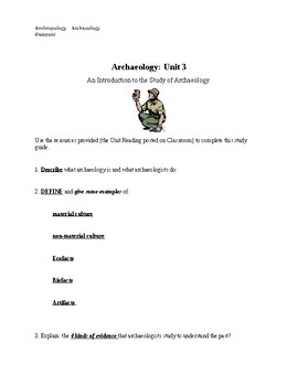 Study Guide for Archaeology Unit