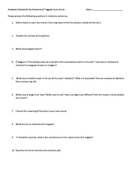 """Study Guide for Aristotle's """"Poetics"""" and Elements of Tragedy"""