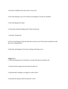 """Study Guide for """"Bud, Not Buddy"""" (7 pages)"""