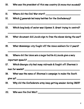 Study Guide for Civil War Test SS5H1 & SS5H2 (short answer with answer bank)