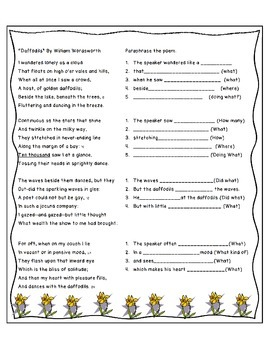 "Study Guide for ""Daffodils"" by William Wordsworth (with key)"