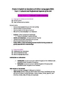 Study Guide for ESOL Praxis II 0361 Test- TOPIC 4