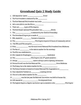 FFA Greenhand Quiz 2 Q&A Study Guide - Use With Jeopardy Labs