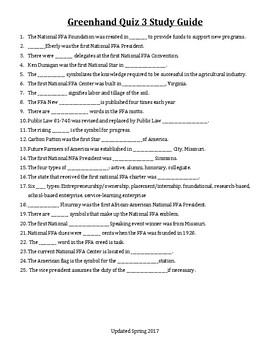 Study Guide for FFA Greenhand Quiz 3 Q&A - Use With Jeopardy Labs