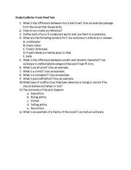 Study Guide for Freak the Mighty Final Test