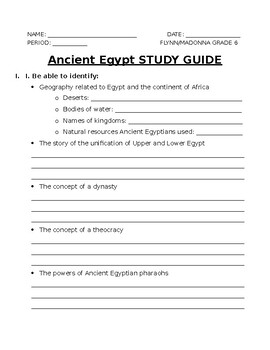 Study Guide for Introduction to Ancient Egypt Quiz
