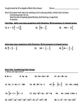 Study Guide for Pre-algebra Final Exam