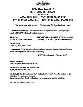 Study Guide for Spanish 4 students