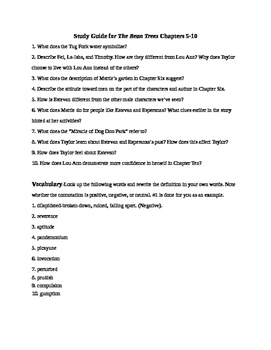 Study Guide for The Bean Trees Chapters 5-10