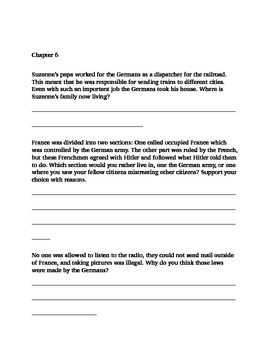Study Guide for historical fiction (WWII) novel
