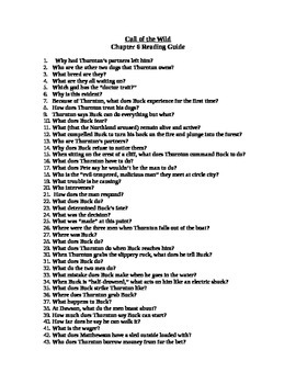 Study Guide questions for Call of the Wild - chapter 6