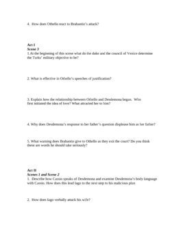 Study Guide to Shakespeare's Othello (7 pages)