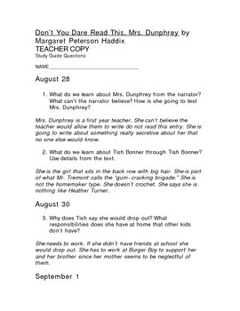 Study Guide w/Answers for Don't You Dare Read This Mrs. Dunphrey