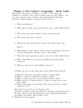 Study Guides Harcourt Horizons United States History Text Thru Unit 3