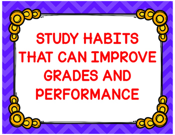 Study Habits Posters  that can Improve Grades and Performa