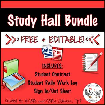 Study Hall Bundle {Student Contract, Daily Work Log, Sign