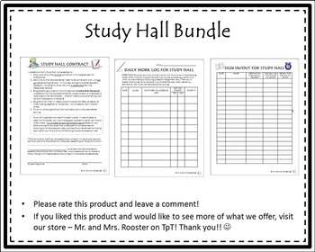 Study Hall Bundle {Student Contract, Daily Work Log, Sign In/Out Sheet}