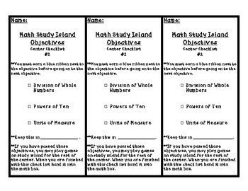Study Island Checklist for 5th Grade