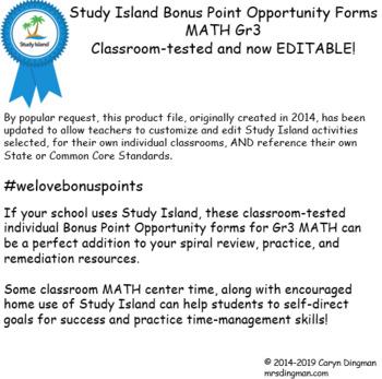 Study Island Gr3 Math Bonus Opportunity Forms