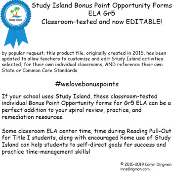 Study Island Gr5 ELA Bonus Opportunity Forms