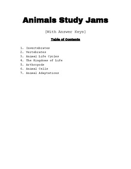 Study Jams BUNDLE: Animals