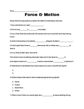 Study Jams BUNDLE: Force and Motion