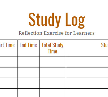 Study Log - Reflection Activity for Learners
