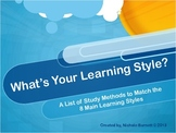Study Methods for 8 Main Learning Styles