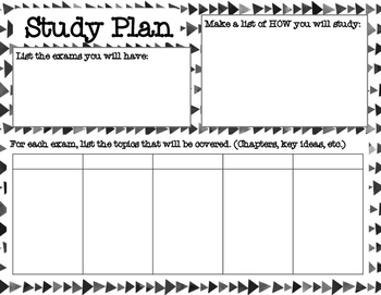 Study Plan Template by Sarah Brauhn | Teachers Pay Teachers