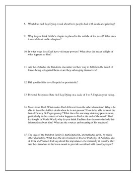 Study Questions for As I Lay Dying by William Faulkner