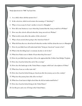 """Study Questions for """"MK"""" by Jean Fritz"""