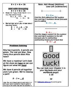 Study Sheet - Addition and Subtraction Facts