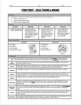 Study Sheet - Cells, Tissues and Organs
