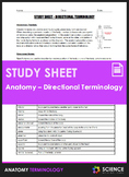 Study Sheet - Directional Terminology for Anatomy Students
