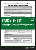 Study Sheet - Ecology and Population Dynamics