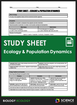 Study Sheet - Ecology and Population Dynamics