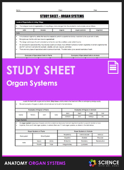 Study Sheet - Human Organ Systems