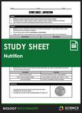 Study Sheet - Nutrition