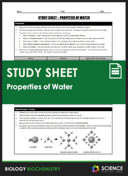Study Sheet - Properties of Water