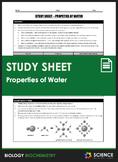 Study Sheet - Properties of Water