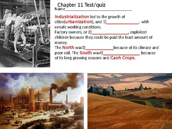 Study Sheet for Industrialization and differences between North and South