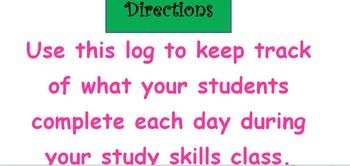 Study Skills Accountability Log