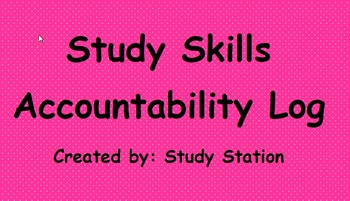 Study Skills Accountability Log